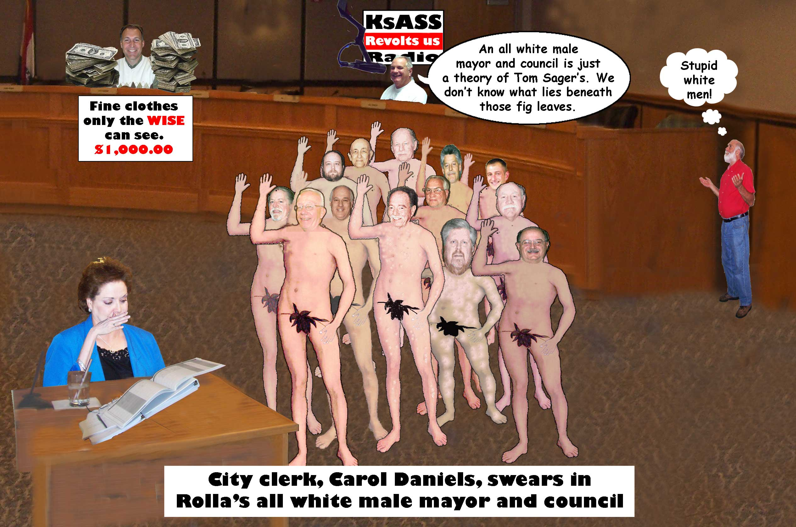Stupid naked white men cartoon